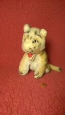 """Vintage 6"""" sitting MOHAIR TIGER MOUTH OPEN plush stuffed animal toy"""