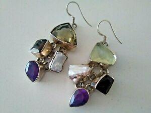 Sterling Silver Amethyst Citrine Pearl & Garnet Earrings Modernist design