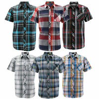 Men's Button Down Plaid Checkered Short Sleeve Regular Fit Casual Dress Shirt
