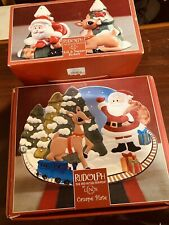 Lot Lenox Rudolph Decorative Holiday Christmas Canape Plate Salt Pepper Shakers