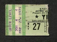 1979 Yes concert ticket stub San Diego Sports Arena Roundabout Tormato Tour