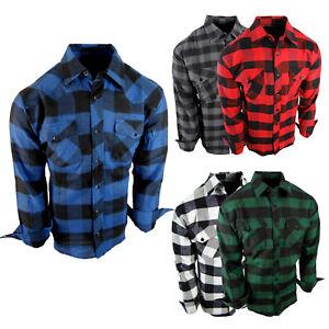 Flannel Plaid Shirt Mens Button Flap Pockets Big Check Cotton Long Slve True Fit