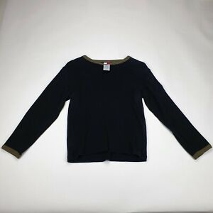 Tommy Hilfiger Black Khaki Accents Printed Top Long Sleeve Sweatshirt Size Small