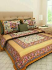 Indian Jaipuri Traditional Print 100% Cotton Bed Sheet Two Pillow Cover Set