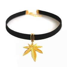 "13"" Suede Leather Marijuana Weed Leaf Charms Pendant Choker Necklace Collares"