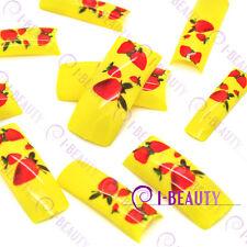 50psc Acrylic False French Nail Art Full Tips IBN1-0009 Yellow Base  Strawberry