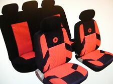 SKODA SUBARU Universal Car Seat Covers Full Set Red/Black Velour Fabric 14406