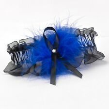 Royal Blue Feather Zebra Print Black Satin Chiffon Bride Wedding Bridal Garter
