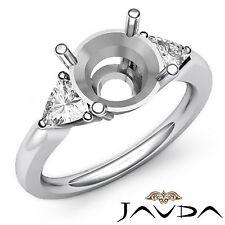 Platinum 950 0.55Ct Trillion Round Mount Classic 3 Stone Diamond Wedding Ring