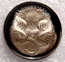 AUSTRALIA: 1975 5 CENTS PROOF ECHIDNA /SPINEY ANT EATER!