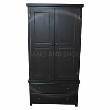 HAND MADE SHAKER 2 DRAWER WARDROBE BLACK(ASSEMBLED)