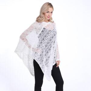 Lady Poncho Stole Cape Shrug Wrap Shawl Jacket Jumper Crochet Cardigan Top Chic