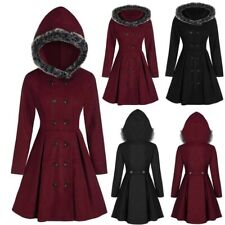 Womens Winter Plus Size Double Breasted Fur Hooded Long Coat Gothic Punk Parka