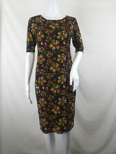 Lularoe Julia Small S blue gold red flowers floral short sleeve stretch knee Euc
