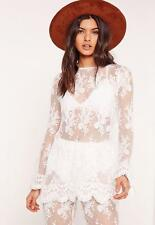 Missguided Lace Long Sleeve Sheer Floaty Top Size 10 Uk BNWT RRP £25.99 White