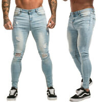 GINGTTO Men Ripped Jean Stretch Skinny Slim Fit Distressed Denim Pant Ice Blue