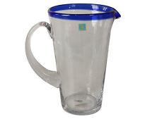 Caraffa in vetro con banda blu