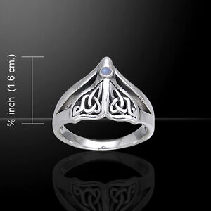 Celtic Knot Whale Tail Ring .925 Sterling Silver Ring Choice of Gem Peter Stone