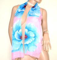 FOULARD étole 40% soie rose bleu clair femme châle echarpe voilé fleur G34