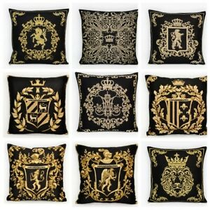 Pillow Case Cushion Decorative Cushion Tapestry Arms Baroque Gold Black