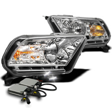 2010-2014 FORD MUSTANG CHROME SET CRYSTAL DRL LED HEADLIGHTS LAMP+6K HID KIT NEW