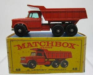 Vtg Matchbox Lesney BPW #48 Dodge Dumper Truck Dump with Original Box