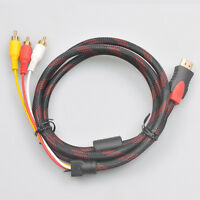 1.5M 5ft 1080P 720P HDMI Male to 3 RCA Analog Video Audio AV Interconnect Cable