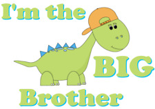 I'M THE BIG BROTHER A5 IRON ON TRANSFER A5 DINOSAUR DESIGN T SHIRT TRANSFER A5