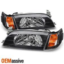 Fits 93-97 Corolla Black *Jdm Version* Headlights + Amber Corner Signal Lamps