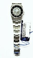 Seiko 5 Classic Ladies Size Ultra Rare Military Time Black Dial Stainless Watch