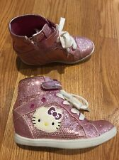HELLO KITTY Glitter Hi Tops Walking Basketball Athletic Girls Shoes Size 1 #