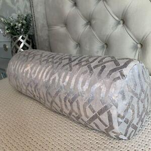 "16""x6"" Cushion Bolster 100% Duck Feather & Geo Cut Velvet Fabric Grey Silver"