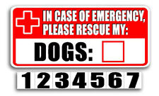 Dog Emergency Rescue Sticker, Vinyl Pet Fire Safety Alert Decal/Sticker - 5""