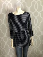 Gap Body Navy Blue White Stripe Boat Neck Pullover Top L Large 3/4 Sleeve Tunic