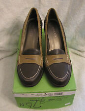 NIB Womens Sesto Meucci Tage Brown Chestnut Leather Heeled Penny Loafers 7 1/2 N