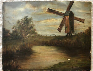Oil painting of the landscape with a windmill by the river