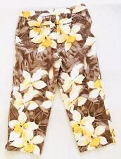 Chicos Additions Floral Capris Size 1 x 22 Brown Cropped Cotton Stretch Pants B3