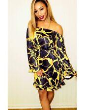 Black Gold Print Chain Off The Shoulder Bardot Ruffle Dress sizes S M L XL 2XL