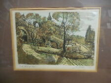Vintage Hand Colored Copper Plate Etching by Marianne Almasy w/ COA