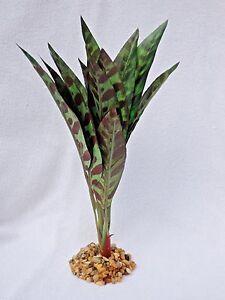 "Artificial Aquarium Silk Plant 9"" MEDIUM 12-leaf SPOTTED CROTON w/ STONE BASE"