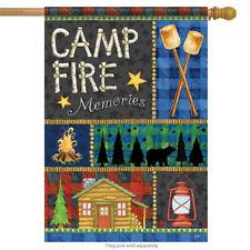 "Campfire Memories Summer House Flag Cabin Bear Woods Marshmallows  28"" x 40"""
