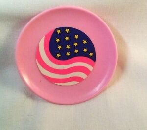 4 Flag Plates Pink  Barbie Pink Made in Thailand  July 4th Doll Display 1 3/4 in