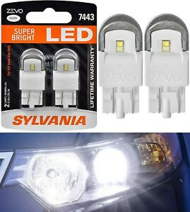 Sylvania ZEVO LED Light 7443 White 6000K Two Bulbs Brake Stop Tail Replace Fit