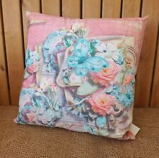 New. Shabby Chic Quality Cushion 40x40 Cm Flowers and Butterflies