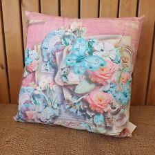FRENCH VINTAGE ROSE & papillon bleu COUSSIN REMPLI DOUX chambre oreiller