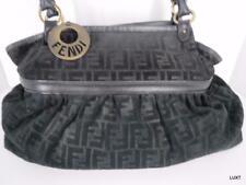 Fendi Suede Zucca Purse Size Xl Black on Black Ff Logo Chef Shoulder Bag Tote