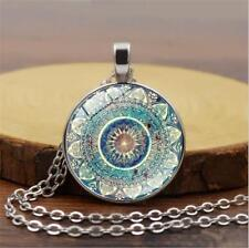 Vintage Mandala Flower Photo Cabochon Glass Tibet Silver Chain Pendant Necklace