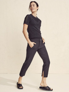 ATHLETA Stellar Crop Trouser 6 S SMALL Black Stretch Work Travel Pants #452890