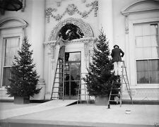 North Portico of White House being decorated for Christmas 1939 - New 8x10 Photo