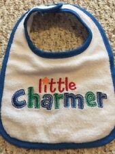 Boys Baby Bib Little Charmer White Blue Terry Cloth